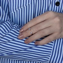 Серебряное кольцо Звездная гармония в позолоте с фианитами