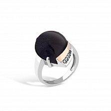 Серебряное кольцо Миранда с золотой накладкой, темно-синим авантюрином и фианитами
