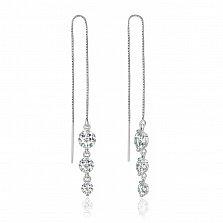 Серебряные серьги-протяжки с цирконием Moonglow
