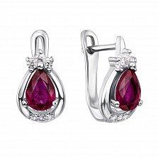Серебряные серьги с рубинами и фианитами 000134893