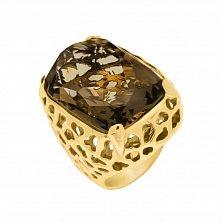 Золотой перстень Версаль в желтом цвете с узорной шинкой и раухтопазом