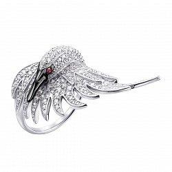 Кольцо в белом золоте Прекрасный лебедь с фианитами