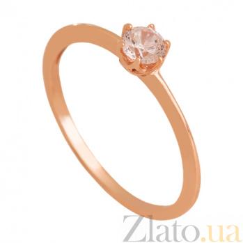 Золотое кольцо с фианитом Мгновение любви 000024347