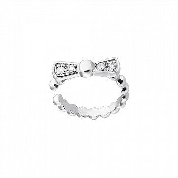 Серебряная серьга-каффа без прокола с бриллиантами 000050727