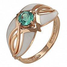 Кольцо в красном золоте Ева с зеленым кварцем, эмалью и фианитами