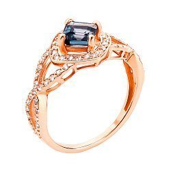 Кольцо из красного золота с лондон топазом и фианитами 000131280