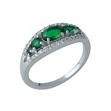 Серебряное кольцо Фарангис с синтезированными изумрудами и фианитами