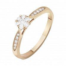 Золотое кольцо Снежный цветок с бриллиантами
