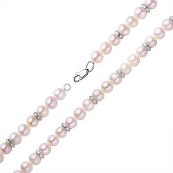 Колье из жемчуга с серебряными вставками 000118261
