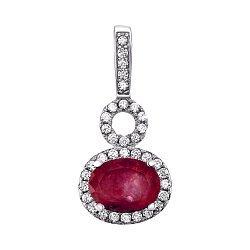 Серебряный кулон с рубином и цирконием 000125114