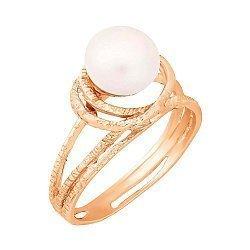 Позолоченное серебряное кольцо с жемчугом 000028236