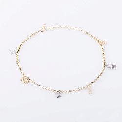 Золотой браслет на ногу Love cod с фианитами 000064964