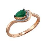 Кольцо Арвен из красного золота с изумрудом и бриллиантами