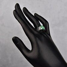 Серебряное кольцо Роксана с зелеными агатами и фианитами