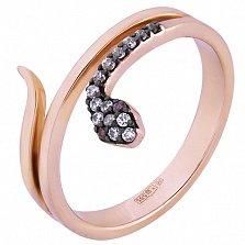 Кольцо в красном золоте Змейка с фианитами