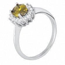 Серебряное кольцо Дарла с оливковым и белым цирконием