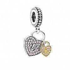 Серебряный шарм Сердце-замок с розовым цирконием в стиле Пандора