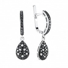 Золотые серьги-подвески Темная капля в белом цвете с черными и белыми бриллиантами