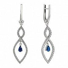 Серьги-подвески с бриллиантами и сапфирами Снежана