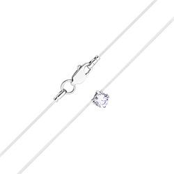 Серебряное колье Невидимка на силиконовой нити с фианитом 4мм