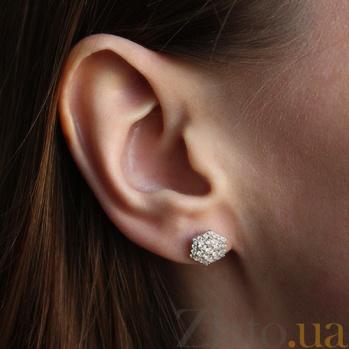 Серебряные серьги-пуссеты Camellia HUF--2985-Р