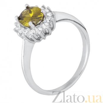 Серебряное кольцо с салатовым цирконием Артемия 000028379
