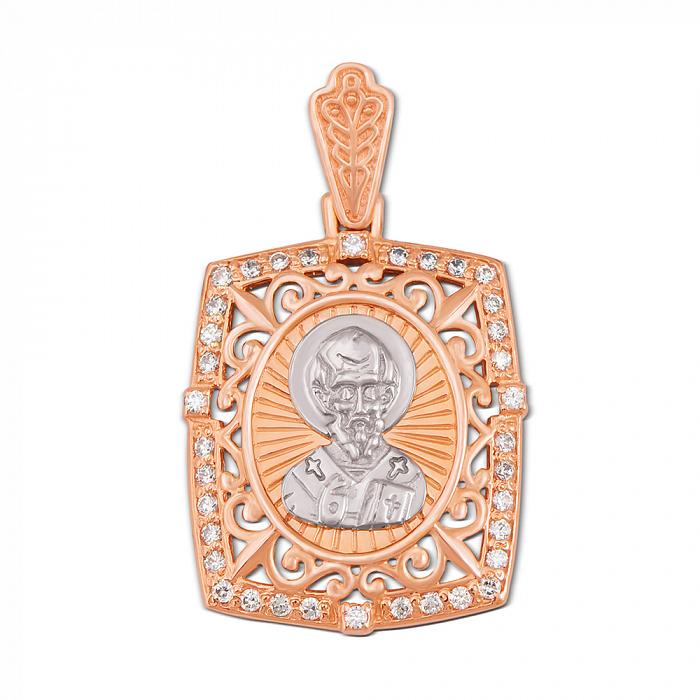 Золотая ладанка в комбинированном цвете Святой Николай с фианитами 000130975 000130975