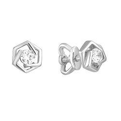 Золотые серьги-пуссеты Princess Earrings в белом цвете с фианитами