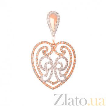 Кулон из красного золота Сердце с фианитами VLT--ТТТ3475-2
