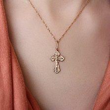 Золотой крестик в красном цвете Святой дух