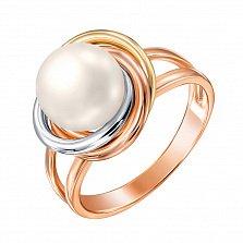 Золотое кольцо Мечта в комбинированном цвете с жемчугом