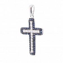 Крестик в белом золоте Дафна с сапфирами и бриллиантами