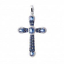 Крестик из белого золота Фантазия с сапфирами и бриллиантами