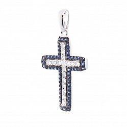 Крестик в белом золоте с сапфирами и бриллиантами 000113191