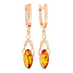 Золотые серьги с янтарем Шанталь