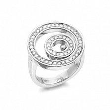 Серебряное кольцо Спираль плавающих камней с фианитами