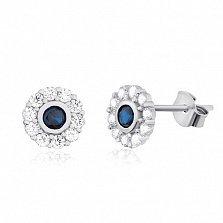 Серебряные серьги-пуссеты с фианитами Небесное око