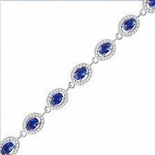 Серебряный браслет Лия с сапфировыми альпинитами и фианитами