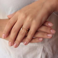 Серебряное кольцо Арлина в позолоте с фианитом, цепочкой и подвесками в стиле Луи Виттон