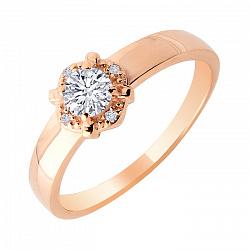 Кольцо из красного золота с фианитами 000106383