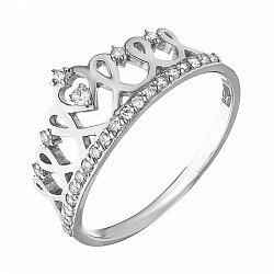 Кольцо-корона из белого золота с бриллиантами и родированием 000058721