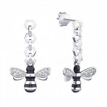 Серебряные серьги-подвески Две пчелы с эмалью и фианитами 000113716