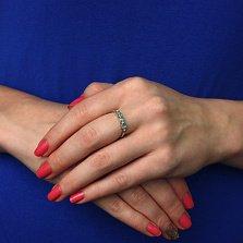 Серебряное кольцо с бриллиантами и изумрудами Сандра