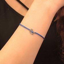 Синий шелковый браслет My bird с серебряной вставкой-птичкой