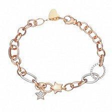 Золотой браслет Зоряна с кристаллами циркония