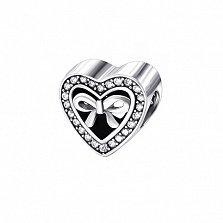Серебряный подвес-шарм Сердце в подарок с цирконием