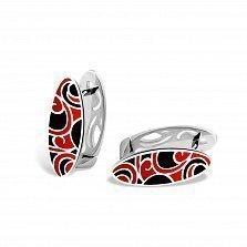 Серебряные серьги Native с черно-красной эмалью
