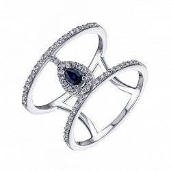 Двойное кольцо из белого золота с сапфиром и бриллиантами 000132281