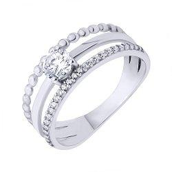 Серебряное кольцо Орландина с тройной шинкой и фианитами