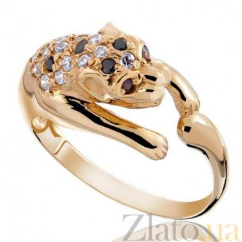 Золотое кольцо с цирконием Пантера EDM--КД0116Ч